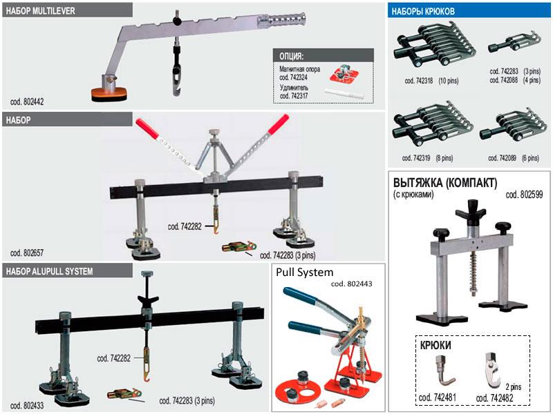 Инструменты для вытяжки: рычаги, вытягивающие системы.